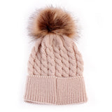 Warm Knitted Caps with Fur (0 - 24 M) - GoFancy