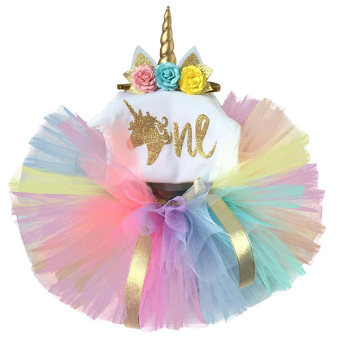 Amazing Unicorn Party Outfit with Unicorn Crown Band (0 - 18 M)