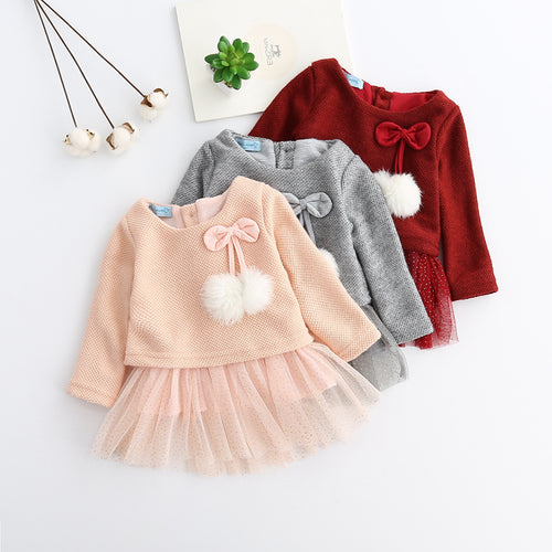 Stylish Dress with Knitted Wool Sweater for Baby Girls - Kids Clothing Online Store