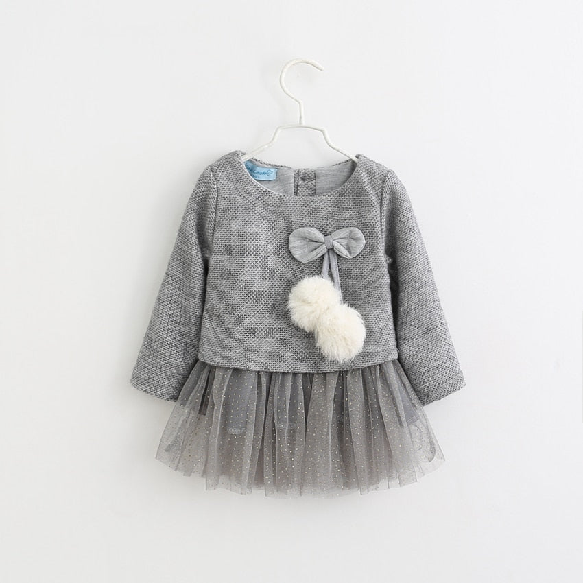 Stylish Dress with Knitted Wool Sweater for Baby Girls (0-18 M) - GoFancy