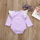 3 Piece Lace Ruffle Bodysuit + Floral Pants & Headband (3 - 24 M) - GoFancy