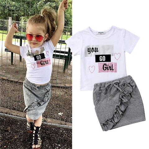 'You Go Girl' Fashion Top & Skirt (6M - 3Y)