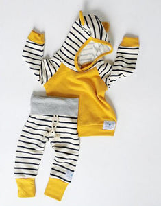 Striped Hooded Top + Pants (0 - 18 M)