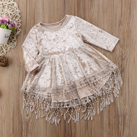 Velvet Tassel Dress for Girls (9 M-4Y) - GoFancy