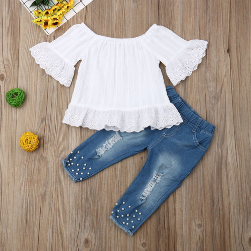 Soft Ruffle Top + Pearled Jeans Bottom