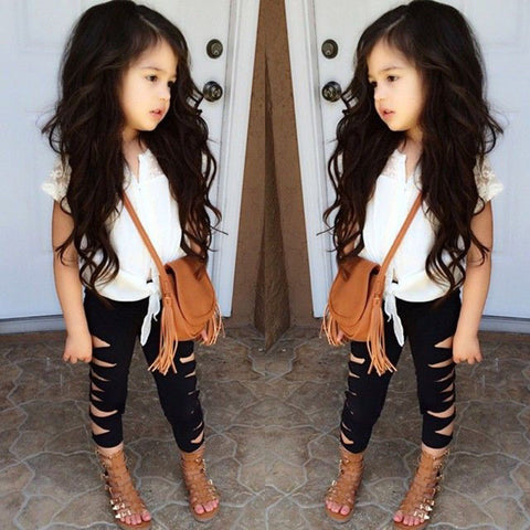 Fashion Icon Outfit Set with Ripped Shiny Pants + Lace Top (18M - 5 Y)