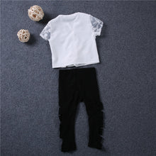 Load image into Gallery viewer, Fashion Icon Outfit Set with Ripped Shiny Pants + Lace Top (12M - 5 Y)