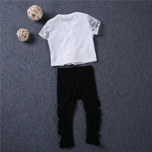 Fashion Icon Outfit Set with Ripped Shiny Pants + Lace Top (12M - 5 Y)