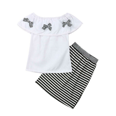 Amazing Striped Skirt + Stylish White Top (18 M - 6 Y)