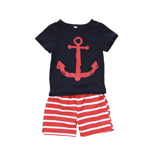 Summer Anchor Top + Striped Shorts (3M - 4Y)