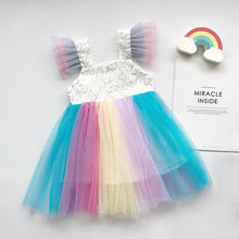 Load image into Gallery viewer, Mesh Rainbow Unicorn Vestidos