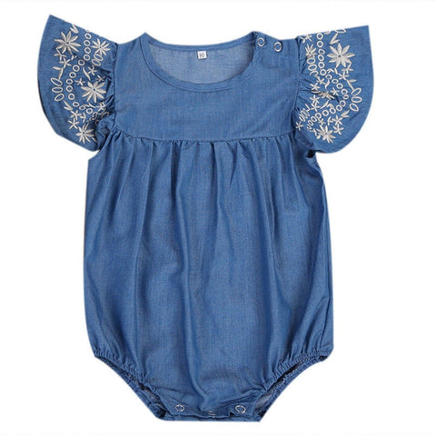 Comfy Embroidered Soft Denim Romper (0 - 12M)