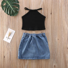 Load image into Gallery viewer, Bestseller! Black Knit Tank Top with Denim Skirt