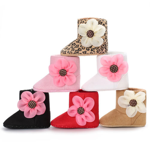 Big Flower Soft Sole Boots (0 - 15 M)