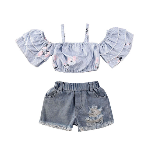 Off Shoulder Strap Crop Top & Denim Shorts