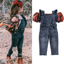 Load image into Gallery viewer, Vogue Denim Suspender Pants & Off Shoulder Crop Top