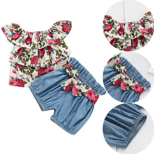 Bold in Contrast Floral Top + Shorts (6 - 24 M)