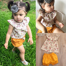 Load image into Gallery viewer, Floral Tank Ruffles Top + Bow Shorts (6 - 24 M)