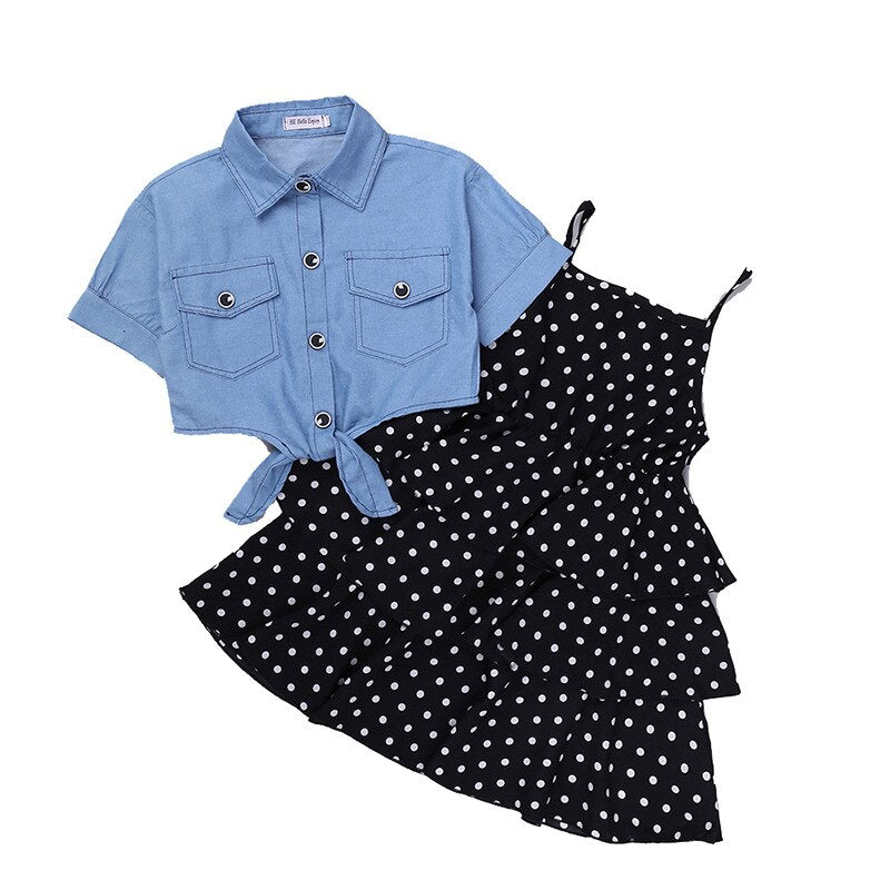 Frilly Dotted Frock with American Denim Top