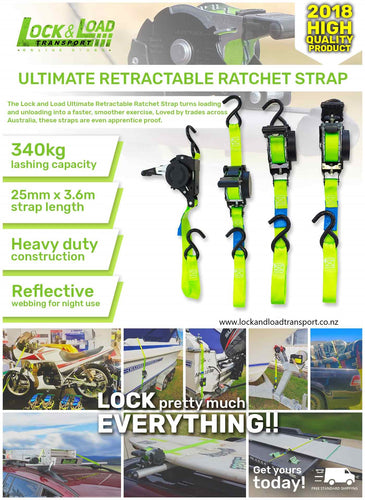 Ultimate Retractable Ratchet Strap twin pack