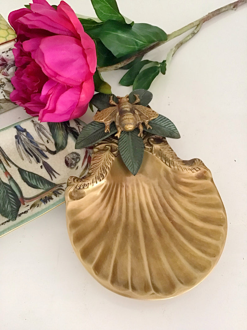 Bee Embellished Brass Dish