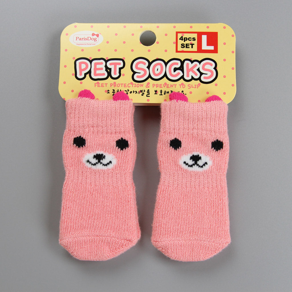 Pink Bear Doggo Socks