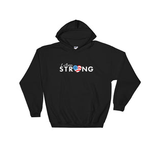 "Run With Heart Series ""I Am Strong"" Hooded Sweatshirt - White Logo"
