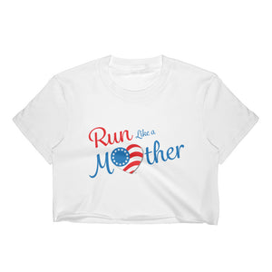 "Run With Heart Series ""Run Like a Mother"" Women's Crop Top - Blue Logo"