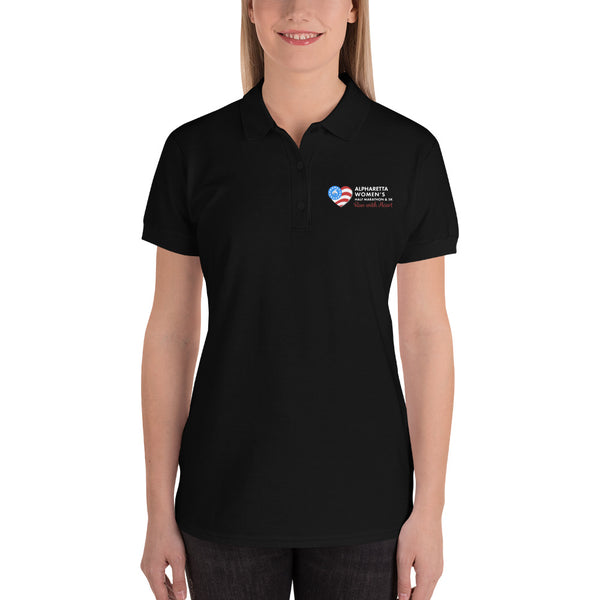 Alpharetta Women's Half Marathon Embroidered Black Polo Shirt