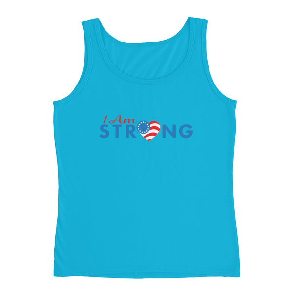 "Run with Heart Series ""I Am Strong"" - White Logo Ladies' Tank"
