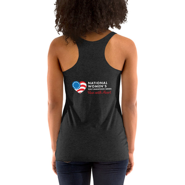"Run with Heart Series ""I Am Strong"" - White Logo Racerback Tank"