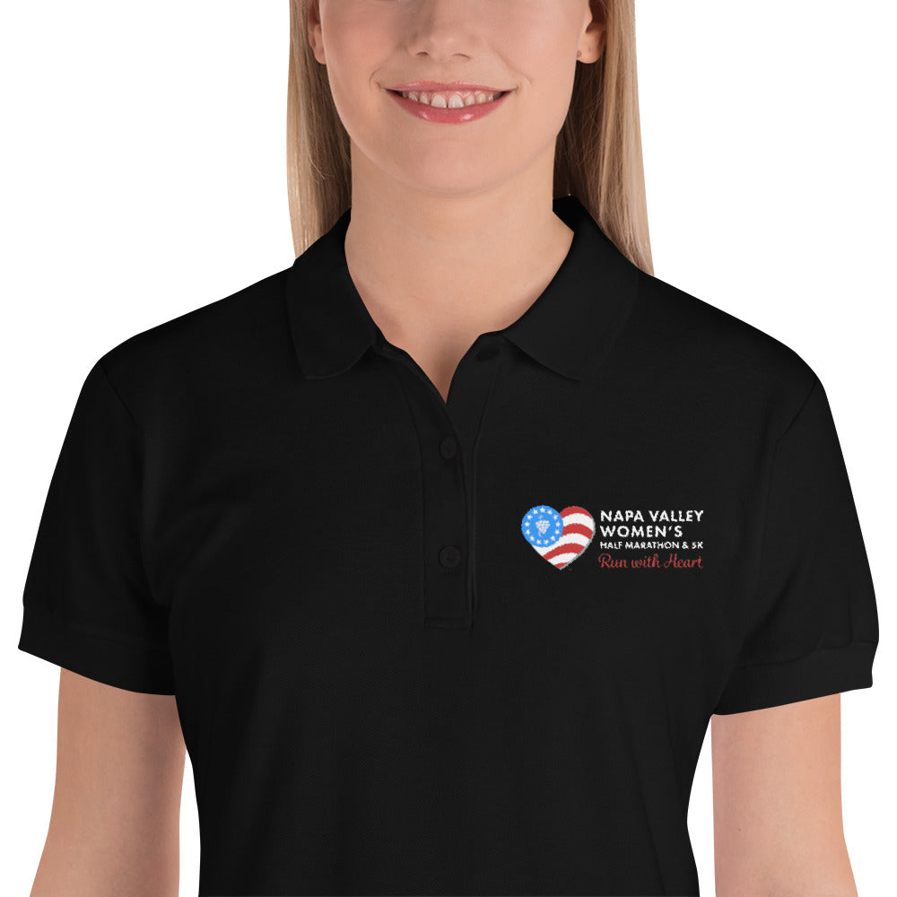 Napa Valley Women's Half Marathon Embroidered Black Polo Shirt