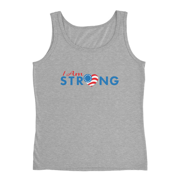 "Run with Heart Series ""I Am Strong"" - Blue Logo Ladies' Tank"