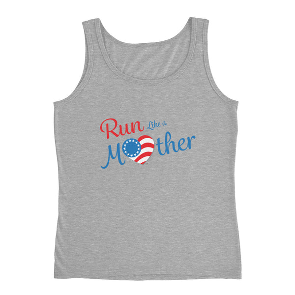 "Run with Heart Series ""Run Like a Mother"" Ladies' Tank - Blue Logo"