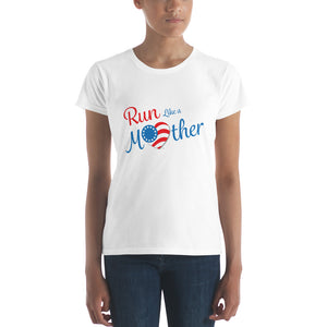 "Run with Heart Series ""Run Like a Mother"" Short Sleeve T-shirt - Blue Logo"