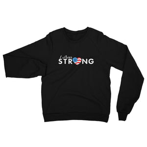 "Run With Heart Series ""I Am Strong"" California Fleece Raglan Sweatshirt - White Logo"