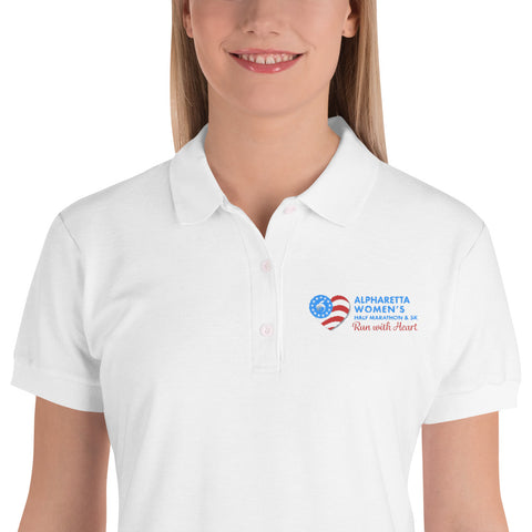 Alpharetta Women's Half Marathon Embroidered White Polo Shirt