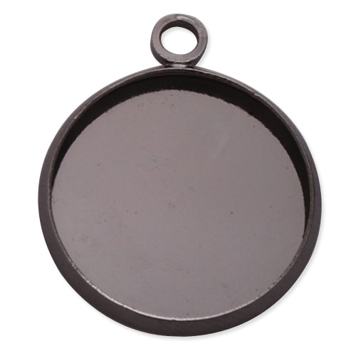 Gun Metal Black Plated Pendant trays,lead and nickle free,fit 16mm round glass cabocon, sold 50pcs per pkg