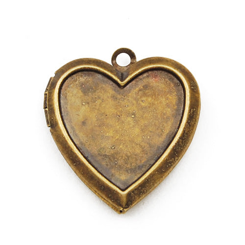 23*22 mm Blank Antique Brass Heart Lockets Pendant,Setting,Sold 20 pcs per pkg