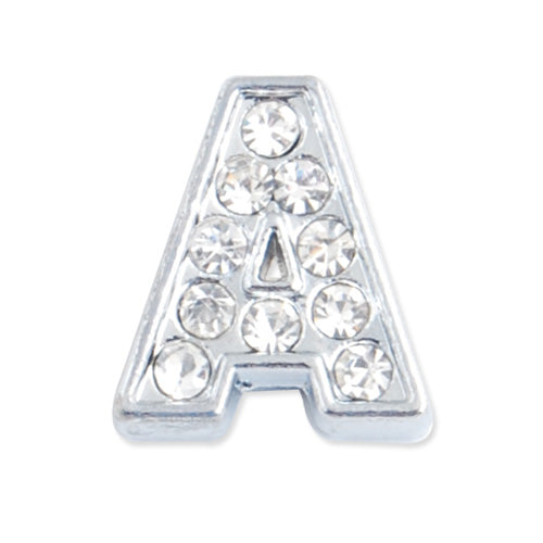 "12.5*11*5 MM Clear Crystal Rhinestone Letter ""A"" Slider Charm Beads,Hole Sizes:8*2 MM,Silver Plated,lead Free and Nickel Free,Sold 50 PCS Per Package"