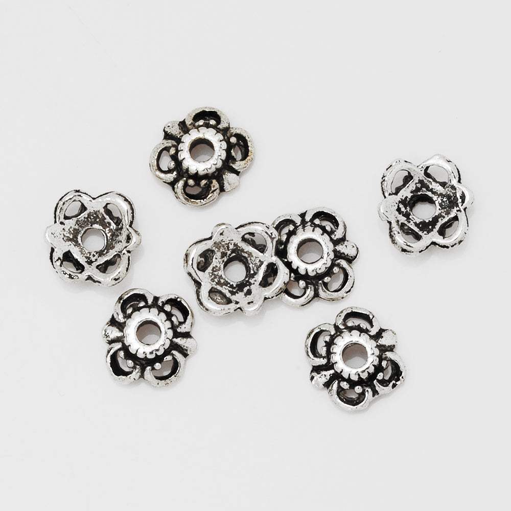 10mm Antique Silver Buddhism Bead Caps,Flower Bead Caps,Jewelry Findings,sold 100pcs/lot