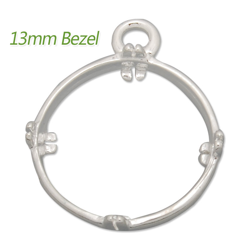 13MM Round Brass Gemstone Bezel,Silver,charms links,sold 20pcs per lot