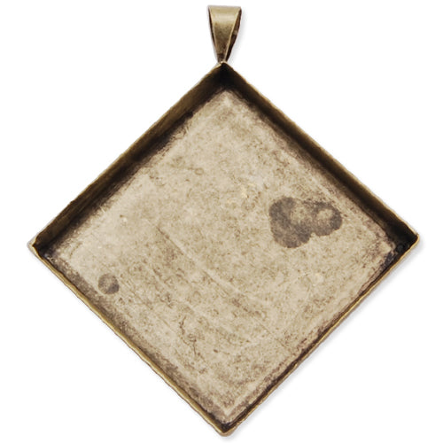 25*25MM Antique Bronze Plated Deep Bottom Square Copper Pendant trays,lead and nickle free,sold 20pcs per pkg