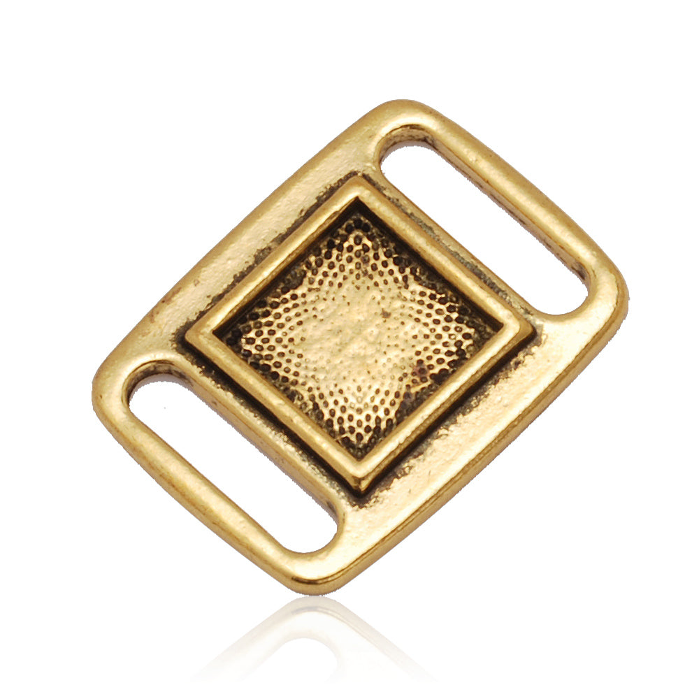 10x10MM Antique Gold Blank Rectangle Slider border,Shoelace charms,slider frame Spacer,Bead Frame charms,zinc alloy filled,20pcs/lot