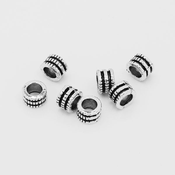 Tibetan Beads,Large Hole Spacer beads,Silver Tone Spacer Beads,Buddhism Beads,Thickness 4mm,sold 100pcs/lot