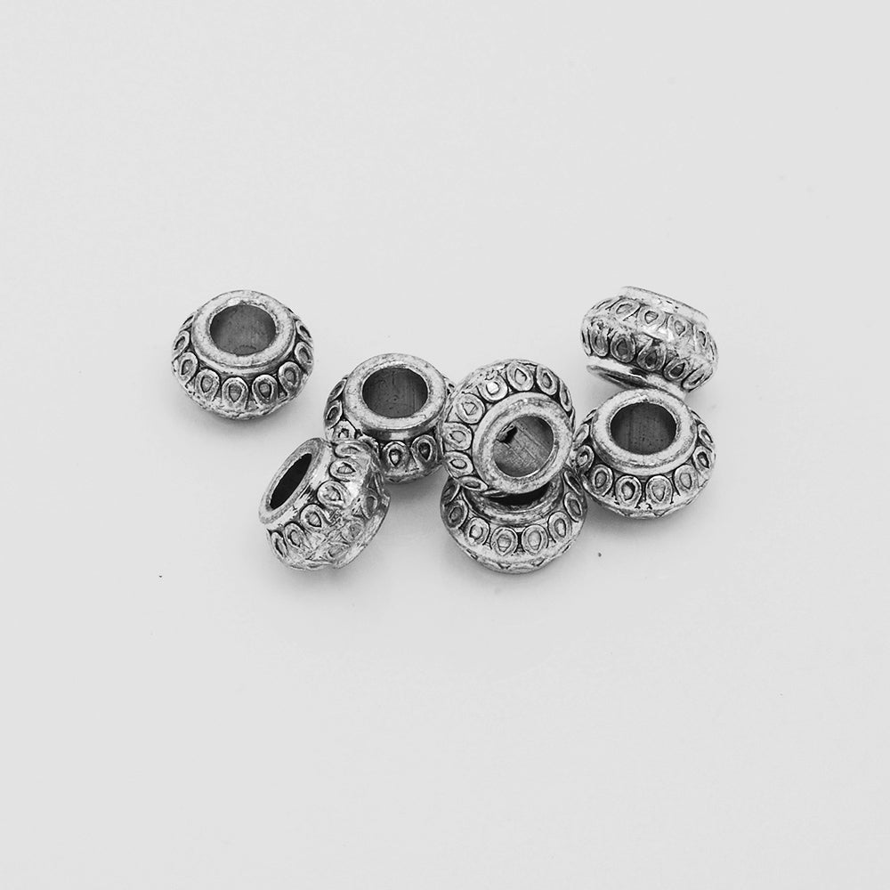 Jewelry Spacer,Rondelle Beads,Silver Tone Spacer Beads,Diy Large Hole Spacer beads,Thickness 5.5 mm,Sold 50pcs/lot
