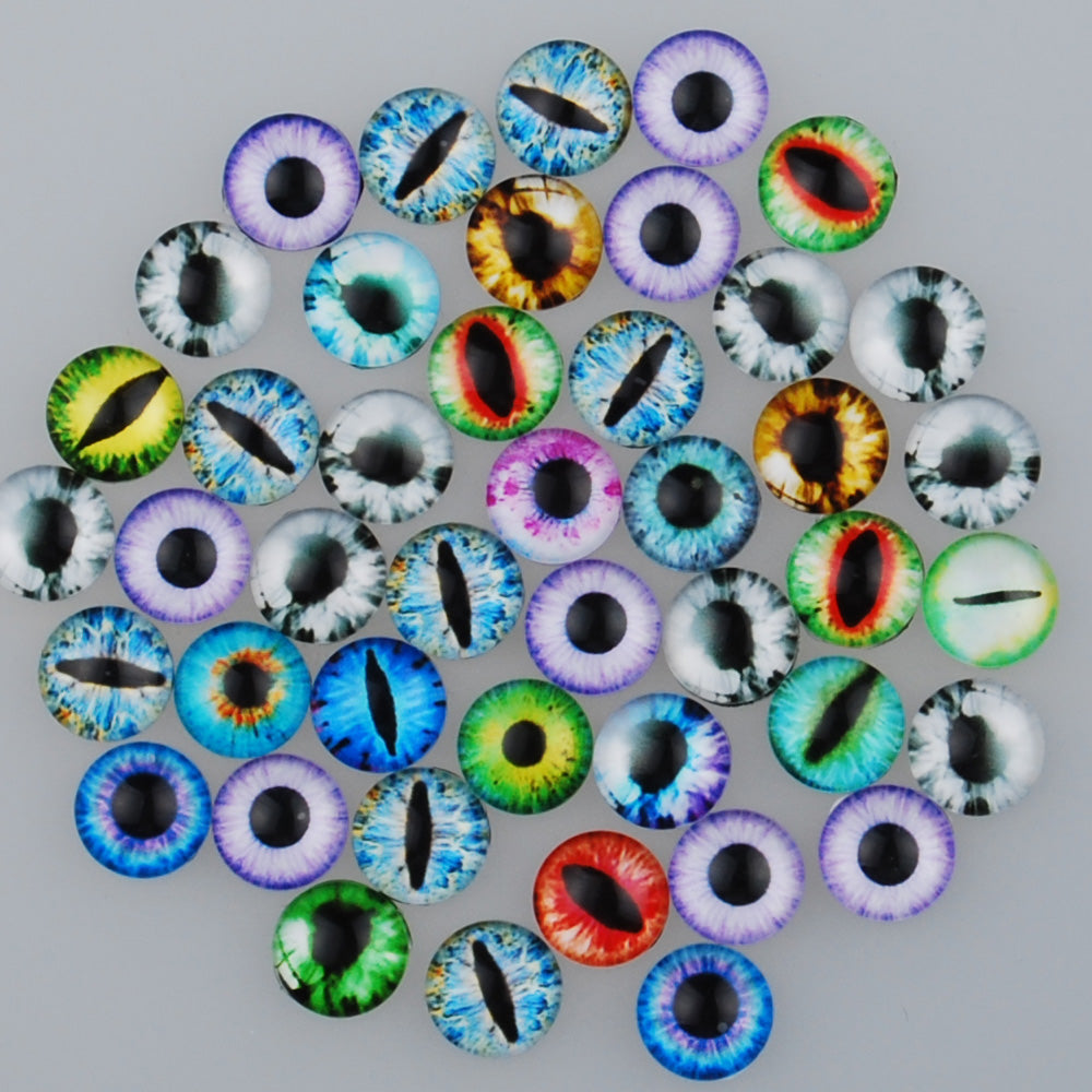 10MM Round pattern glass cabochons with mixed dragon eye,photo glass cabochons,flat back,thickness 4mm,50 pieces/lot