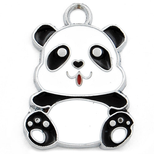 Cute Panda Enamel Charms,white and black,height 27mm,width 20mm,thick 1.8mm,Sold 20 PCS Per Package