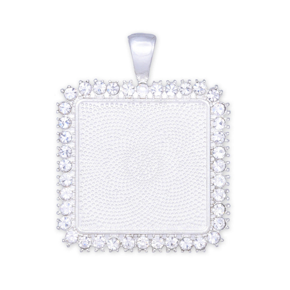 10 Crystal Style Silver Pendant Trays ,20mm Square Cabochon Settings Rhinestone Pendant  Clear Rhinestone Photo holder