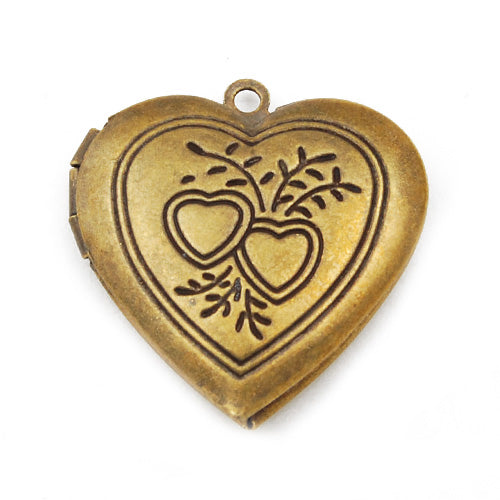 29*28 mm Antique Brass Love Heart Lockets Pendant Victorian Style,Sold 20 pcs per pkg